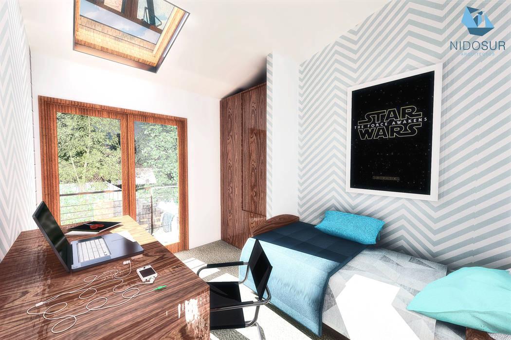 Dormitorio Dormitorios de estilo moderno de NidoSur Arquitectos - Valdivia Moderno