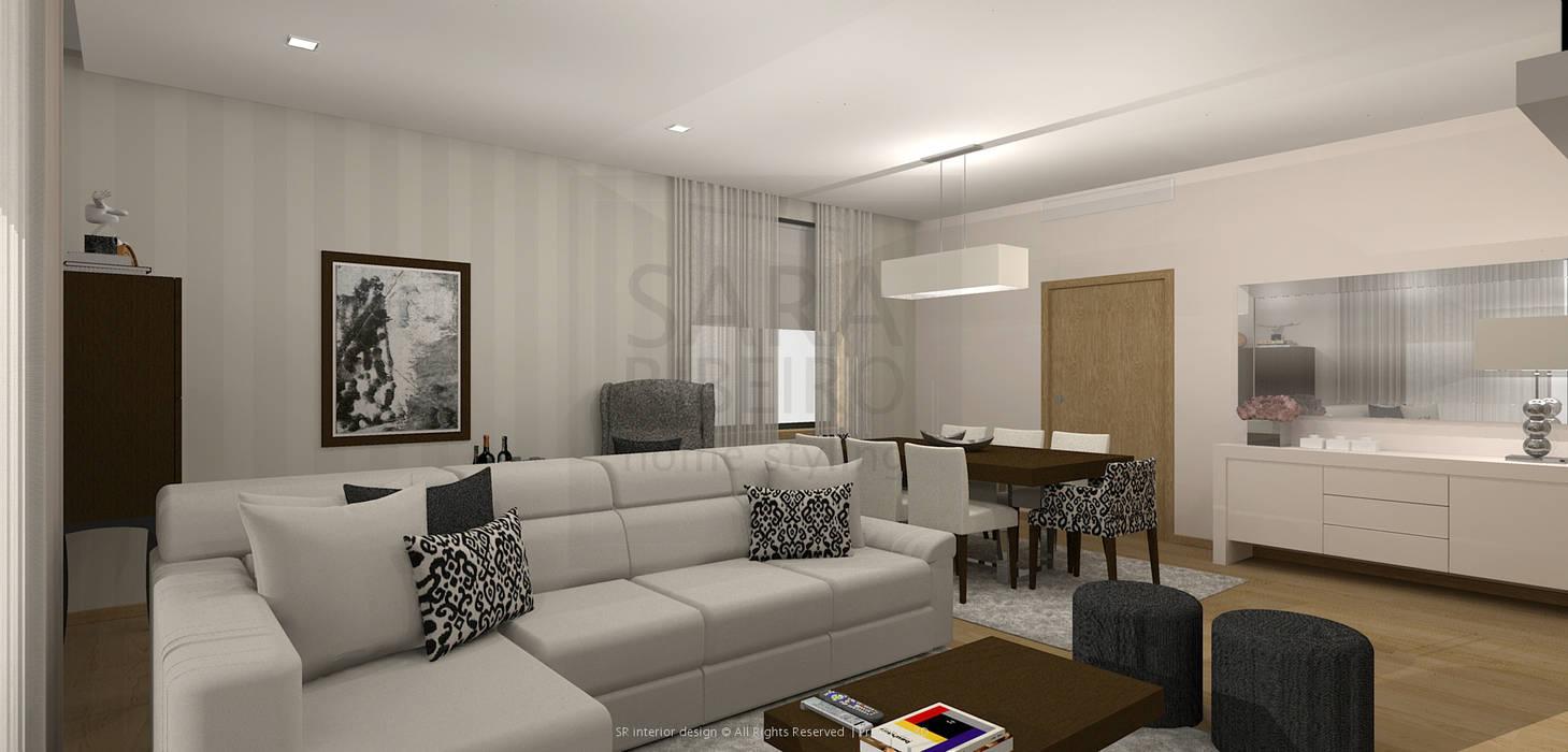 Stripes & Flower Living Room: Salas de estar  por Sara Ribeiro - Arquitetura & Design de Interiores