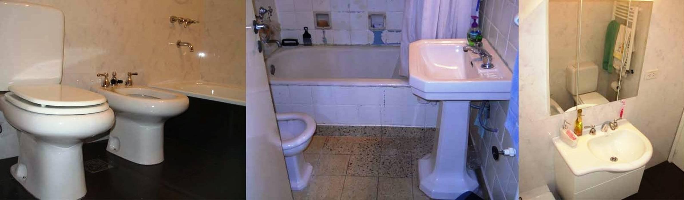 Remodelación de baño en departamento I: Baños de estilo  por AyC Arquitectura