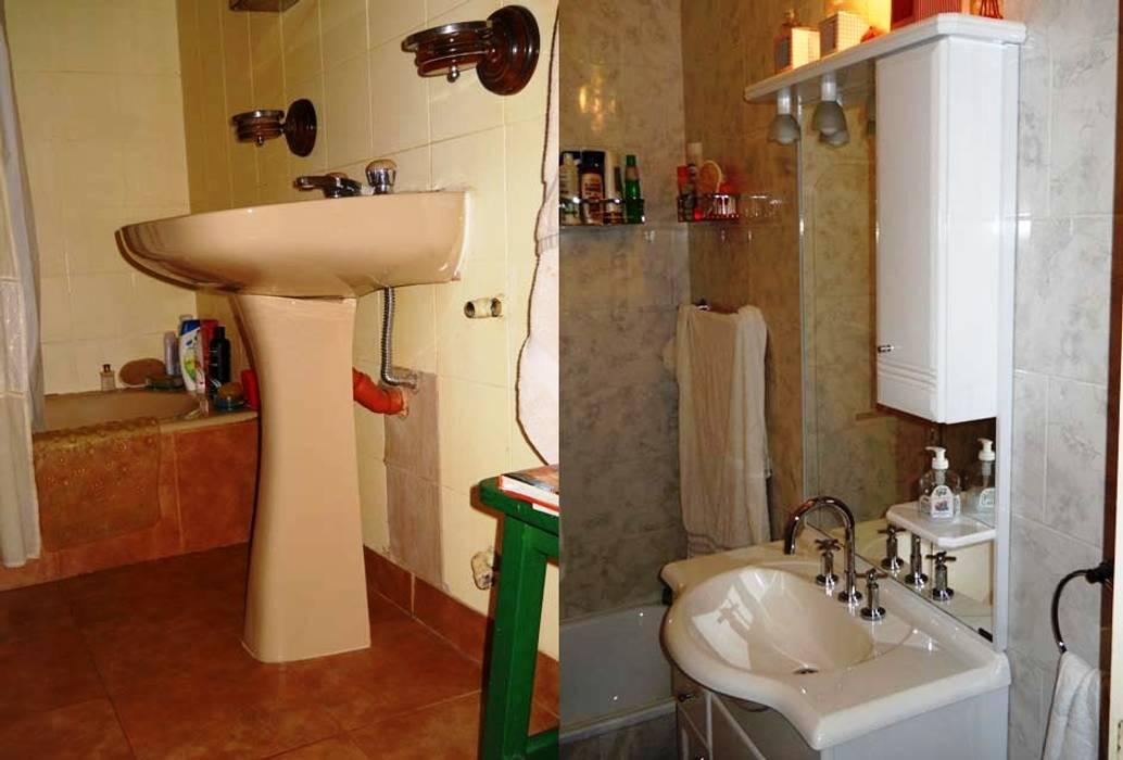 Remodelación de baño en departamento III: Baños de estilo  por AyC Arquitectura,Moderno Cerámico