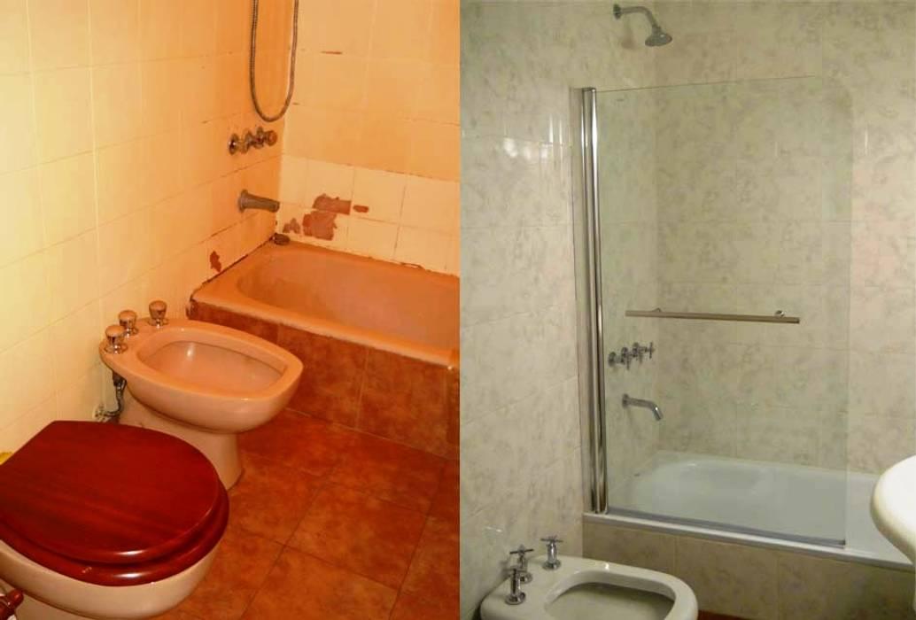 Remodelación de baño en departamento III Baños modernos de AyC Arquitectura Moderno Cerámico