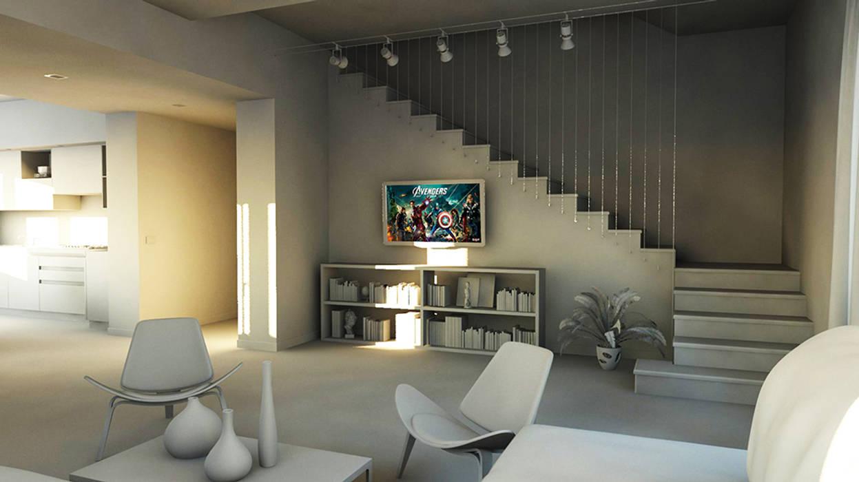 bram openspace soggiorno con vista su cavi in acciaio