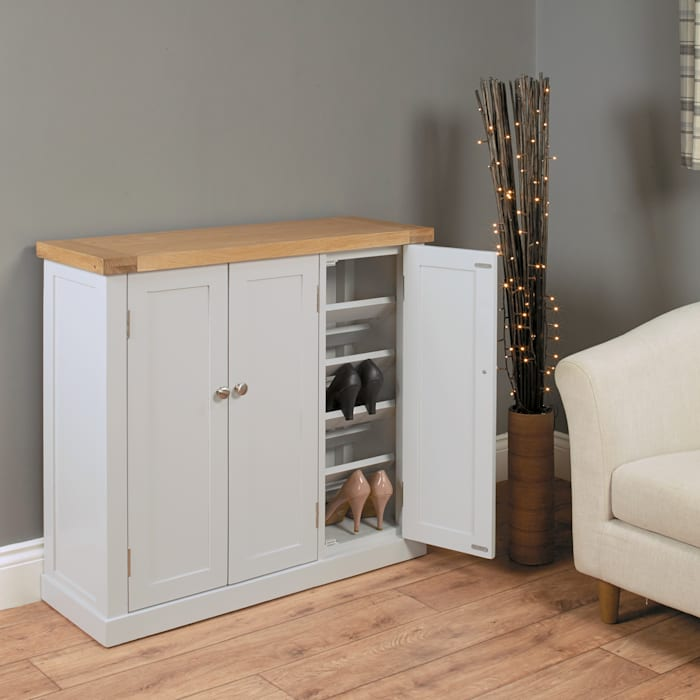 Large Grey Shoe Storage Cupboard From