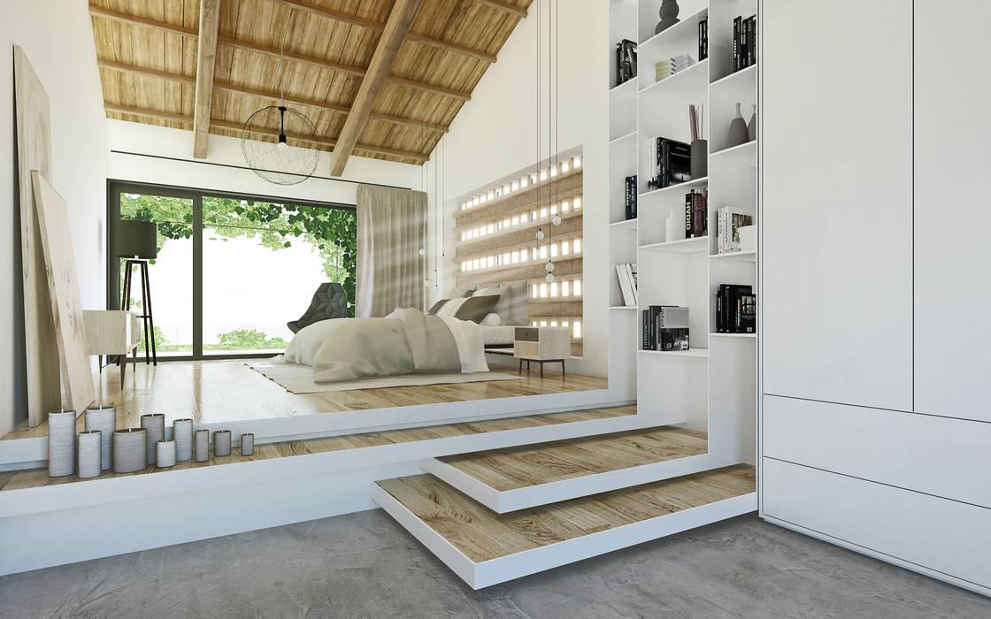 地中海スタイルの 寝室 の DFG Architetti Associati 地中海 木 木目調