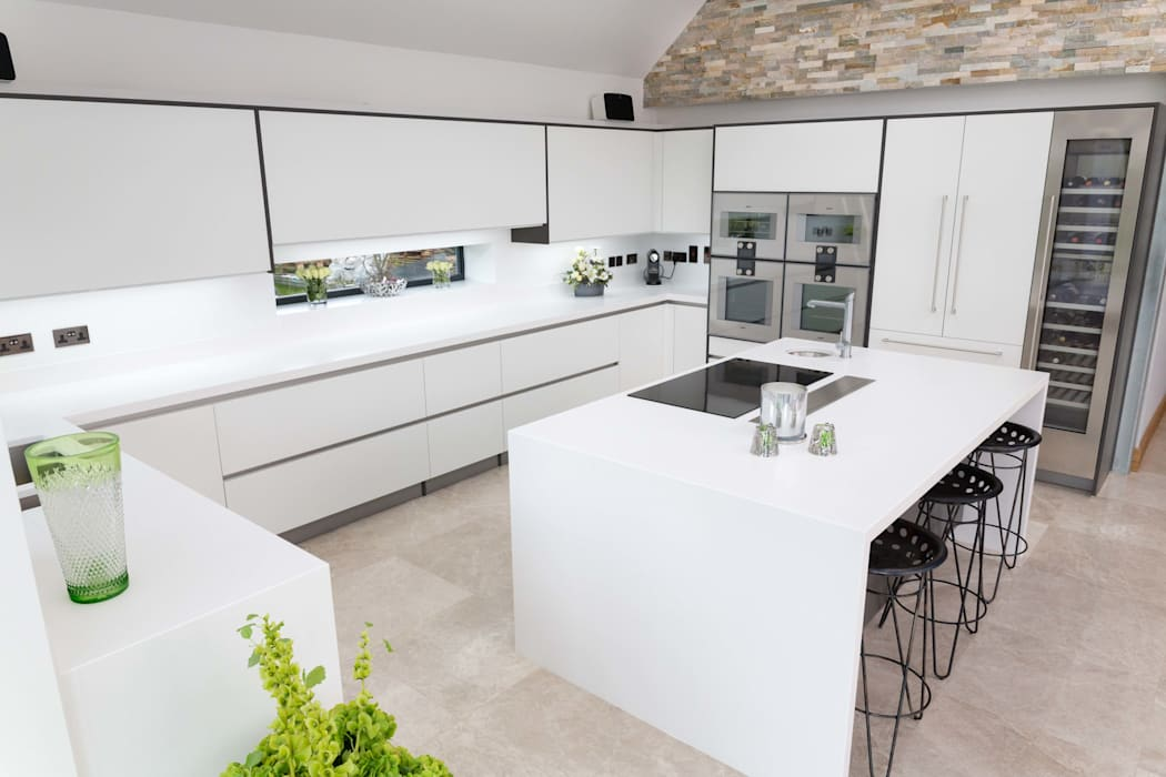 Ultra modern white kitchen modern kitchen by woollards of ...
