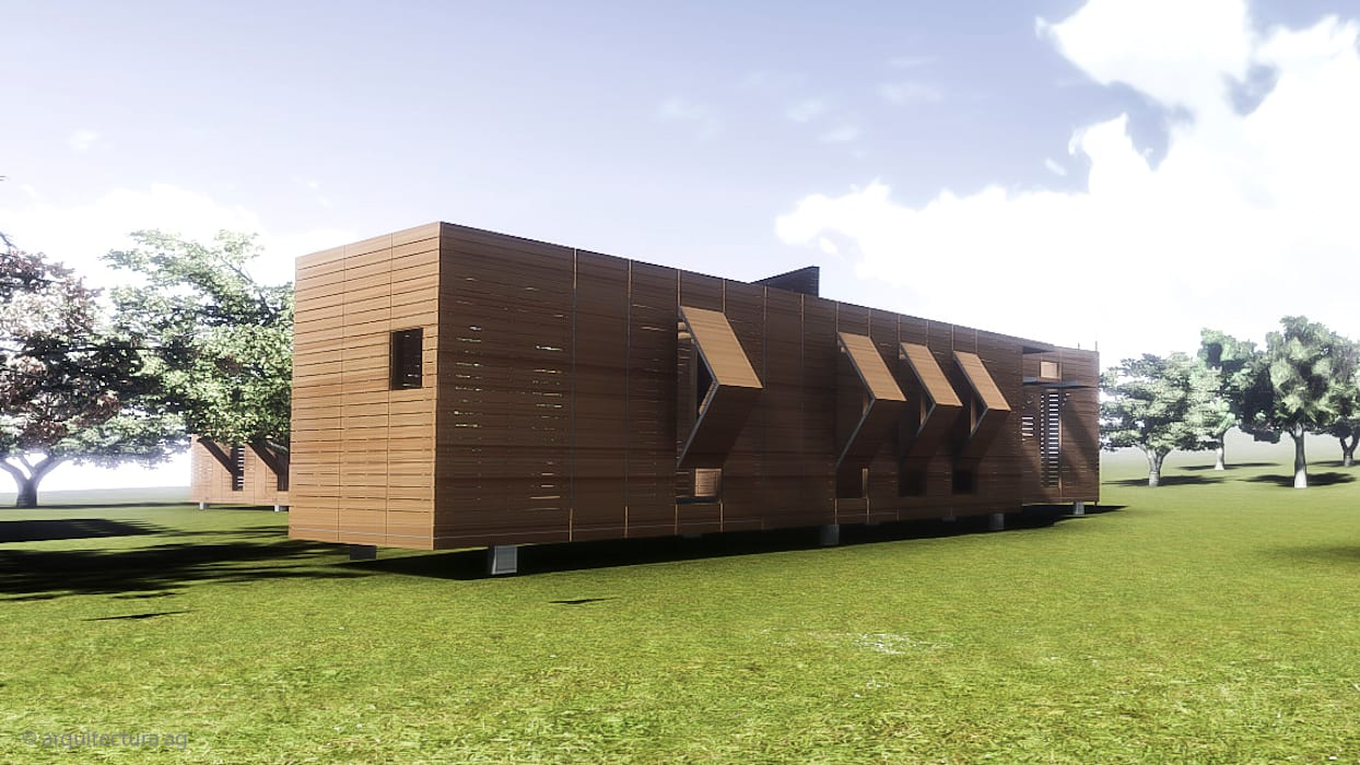 VIVIENDA ABATIBLE SUSTENTABLE Casas rurales de Arquitectura AG Rural Madera Acabado en madera