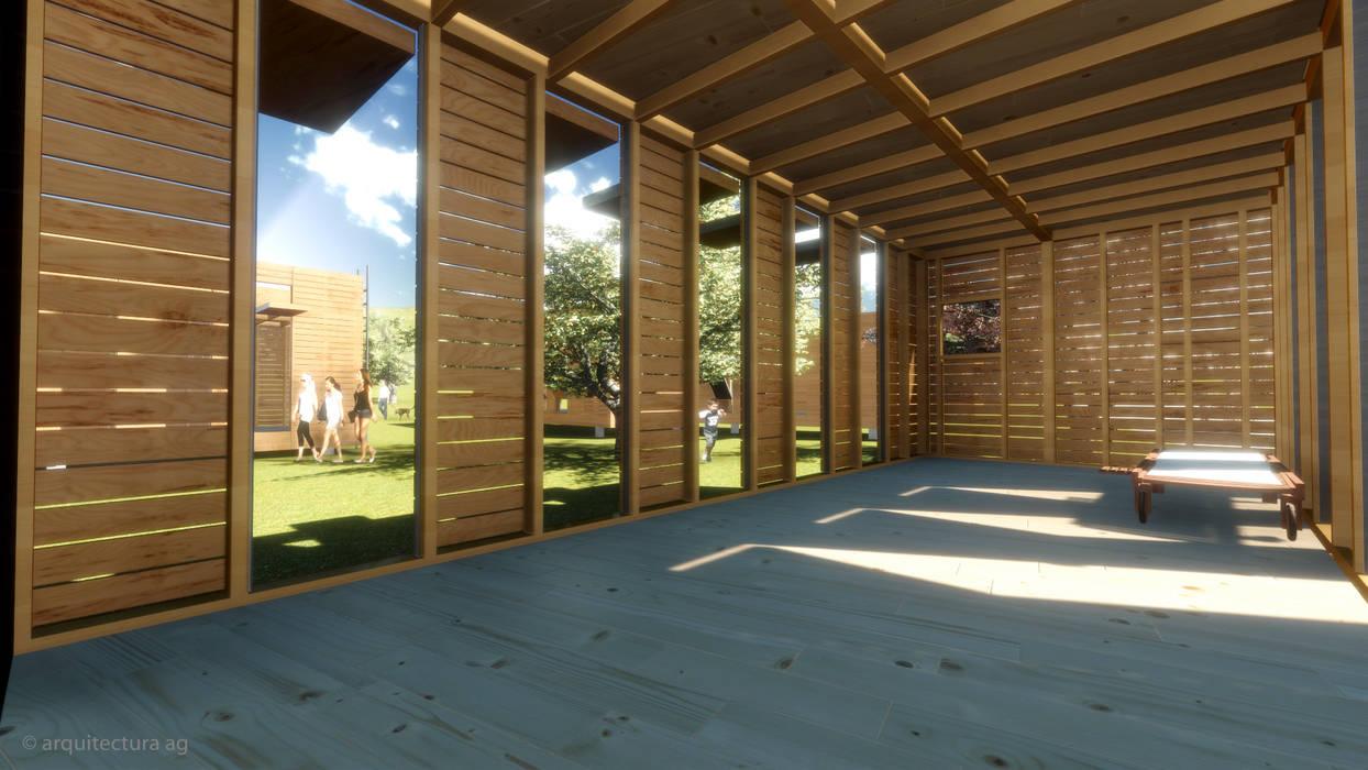 VIVIENDA ABATIBLE SUSTENTABLE Salones rurales de Arquitectura AG Rural Madera Acabado en madera
