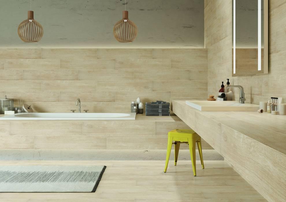 Holzfliesen für ein gemütliches Bad:  Badezimmer von Fliesen Sale