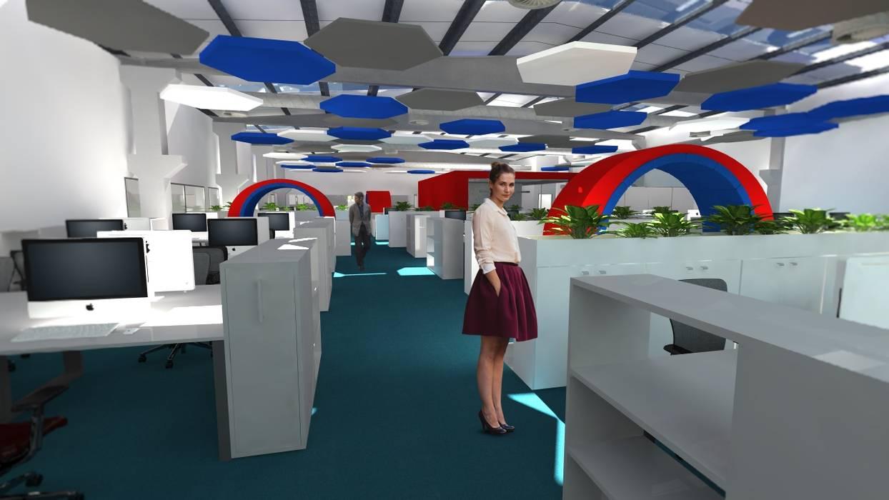 Remodelação de escritório de uma unidade fabril. Conceção dos espaços de trabalho, reuniões, descanso. Escritórios modernos por Área77 - arquitectura, engenharia e design, lda Moderno