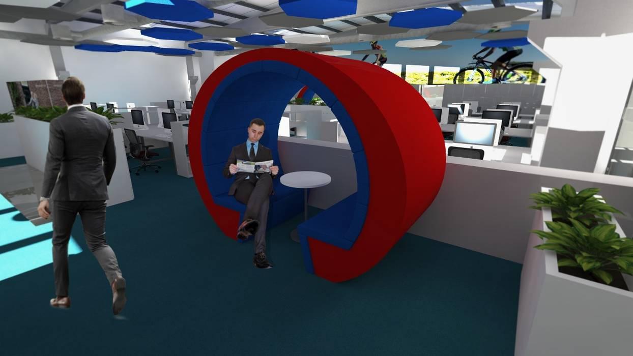 Remodelação de escritório de uma unidade fabril. Conceção dos espaços de trabalho, reuniões, descanso.: Escritórios e Espaços de trabalho  por Área77 - arquitectura, engenharia e design, lda,