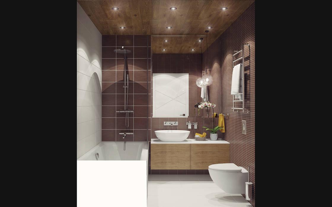 Small studio for young man in Krasnogorsk city:  Bathroom by Ksenia Konovalova Design,