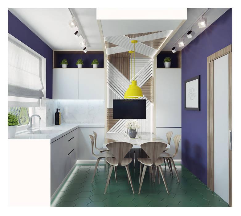 Small kitchen interior design Ksenia Konovalova Design Modern Kitchen Wood White