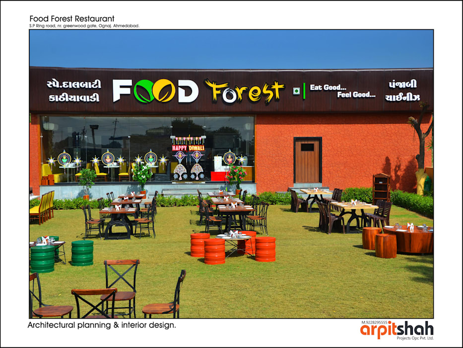 ​Food Forest Restaurant @ Ognaj  Architectural Planning & Interior Design:  Commercial Spaces by ARPIT SHAH PROJECTS OPC PVT LTD.
