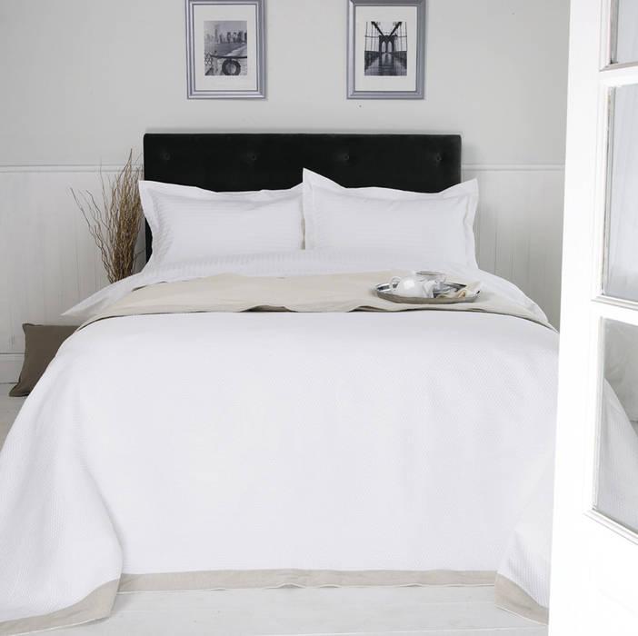 Egyptian Cotton Sateen Stripe King of Cotton BedroomTextiles Cotton White