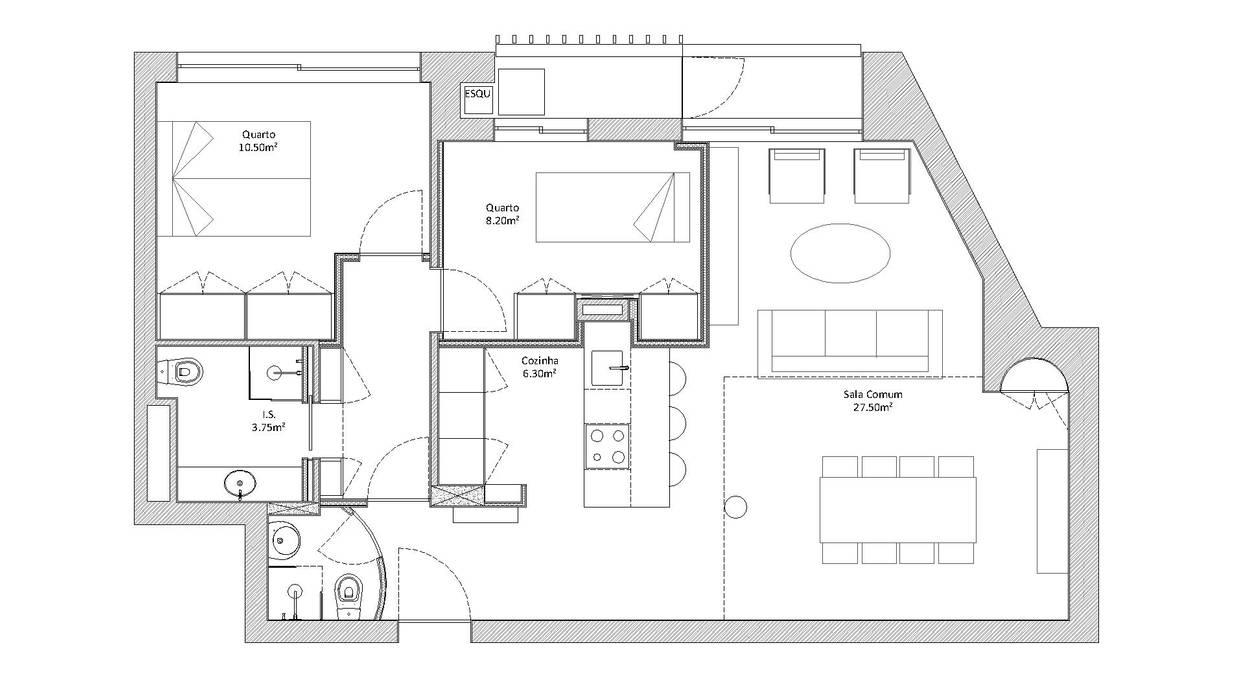 Remodelação / Transformação de T1 em T2 por Albertina Oliveira-Arquitetura Unipessoal Lda Moderno
