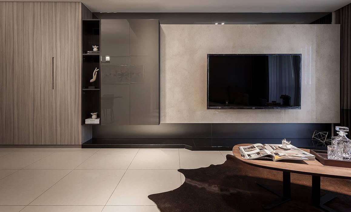 電視主牆:  客廳 by 你你空間設計, 現代風