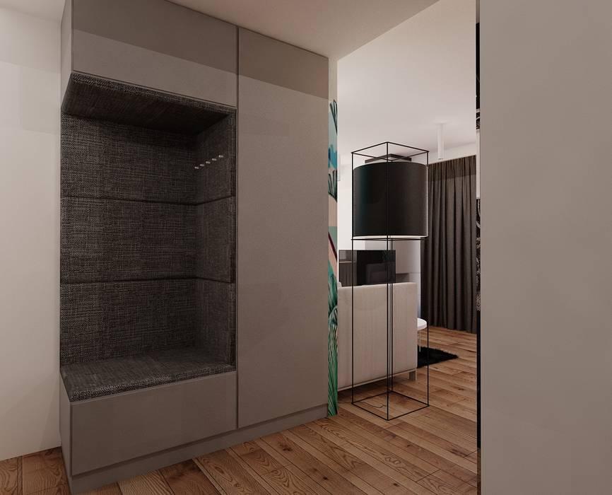 Projekt mieszkania 55m2 w Poznaniu Eklektyczny korytarz, przedpokój i schody od Ale design Grzegorz Grzywacz Eklektyczny