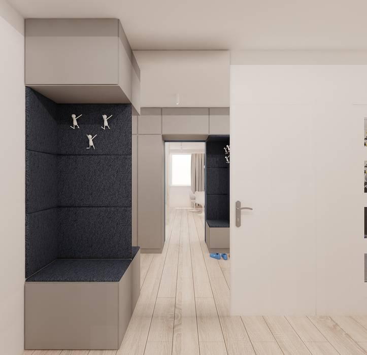Projekt mieszkania 63m2 w Dąbrowie Górniczej Minimalistyczny korytarz, przedpokój i schody od Ale design Grzegorz Grzywacz Minimalistyczny