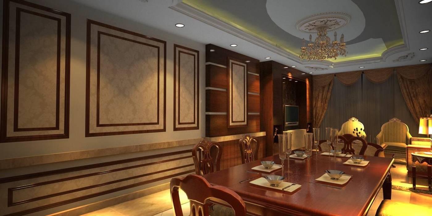 غرفة المعيشة :  غرفة السفرة تنفيذ القصر للدهانات والديكور