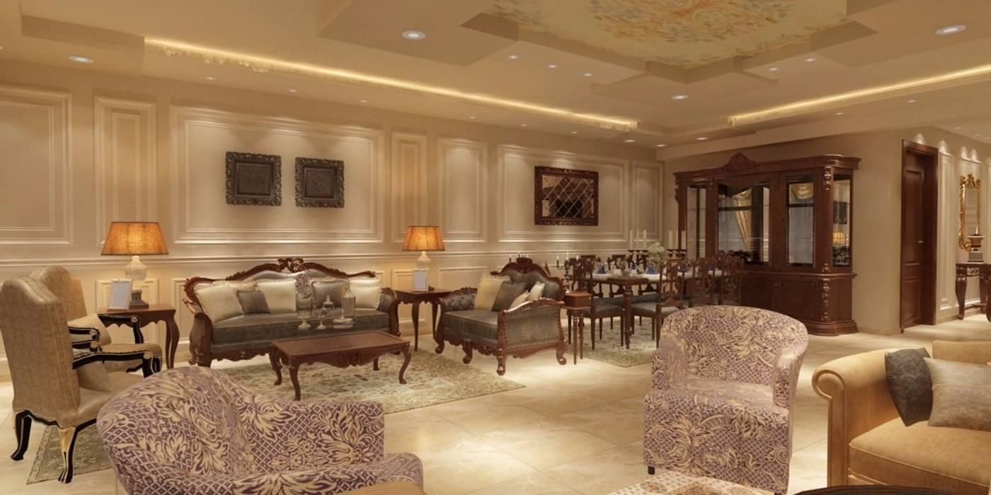 غرفة المعيشة من القصر للدهانات والديكور كلاسيكي