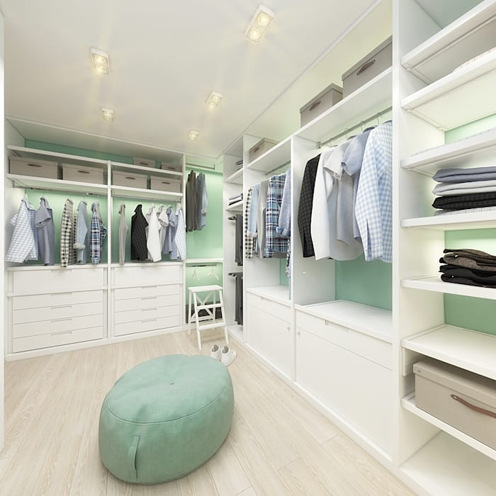 Rustic style dressing room by decoroom Rustic Wood Wood effect