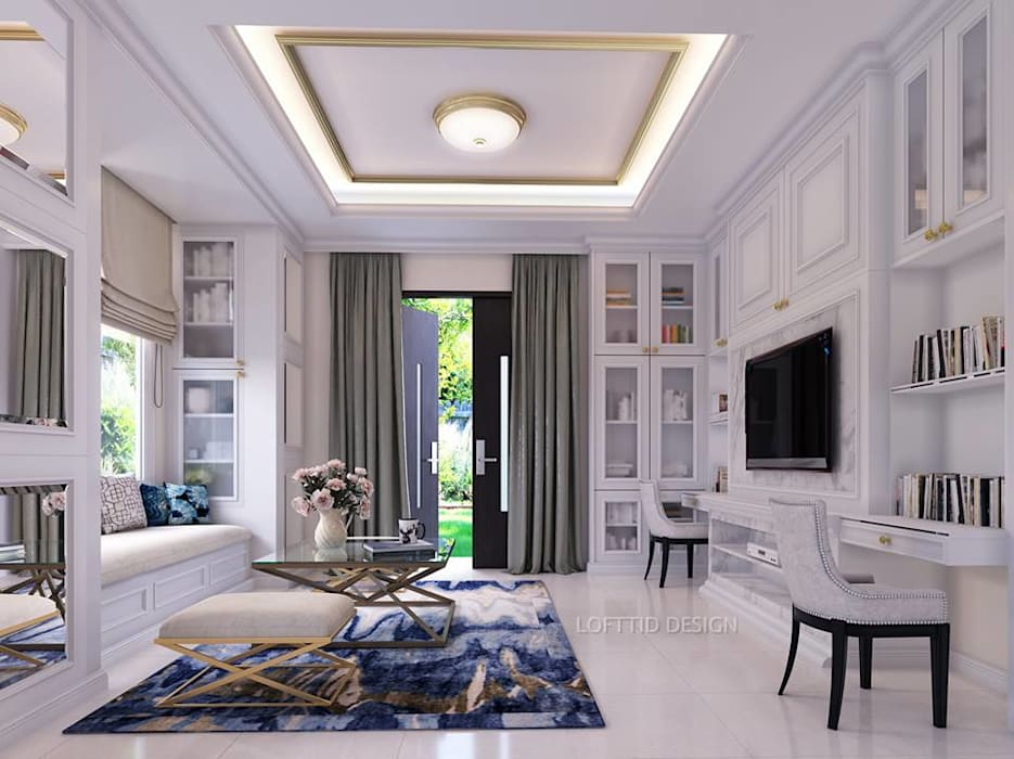 รับออกแบบ สร้างบ้าน และตกแต่งภายใน LOFTTID DESIGN ห้องนั่งเล่นชั้นวางทีวีและตู้วางทีวี