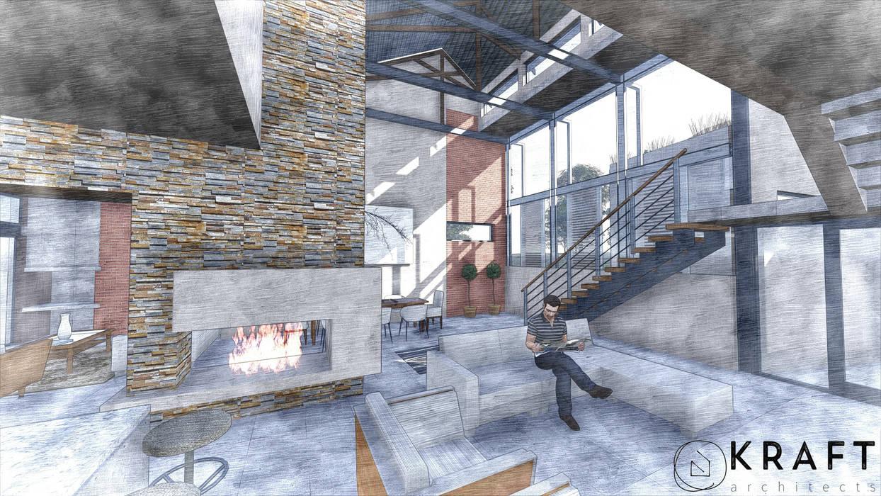 モダンデザインの リビング の Kraft Architects モダン