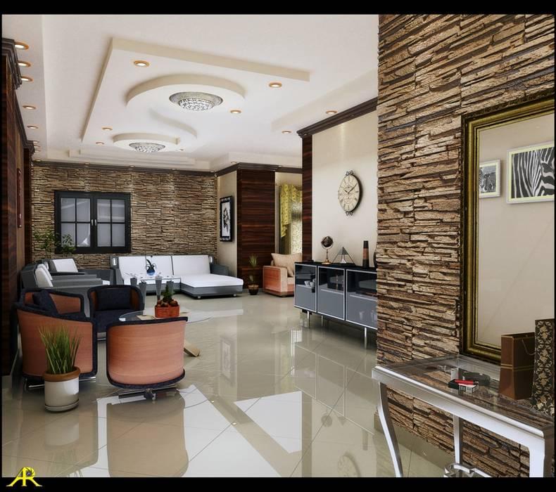 اختار المصمم الطراز الحديث للتصميم مع ألوان هادئة ومتناغمة ومن درجات البنى:  غرفة المعيشة تنفيذ Etihad Constructio & Decor,