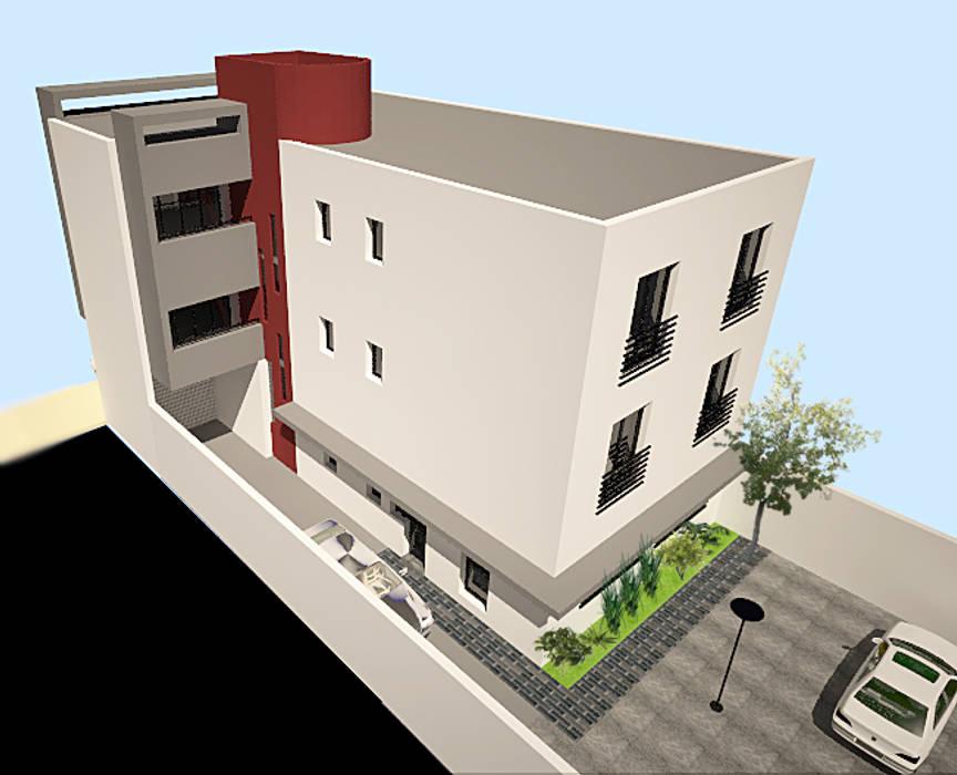 Edificio de Oficina y vivienda: Estudios y oficinas de estilo  por Lineasur Arquitectos,Moderno