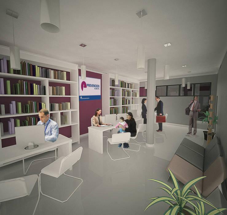 Edificio de Oficina y vivienda-interior oficina: Estudios y oficinas de estilo moderno por Lineasur Arquitectos