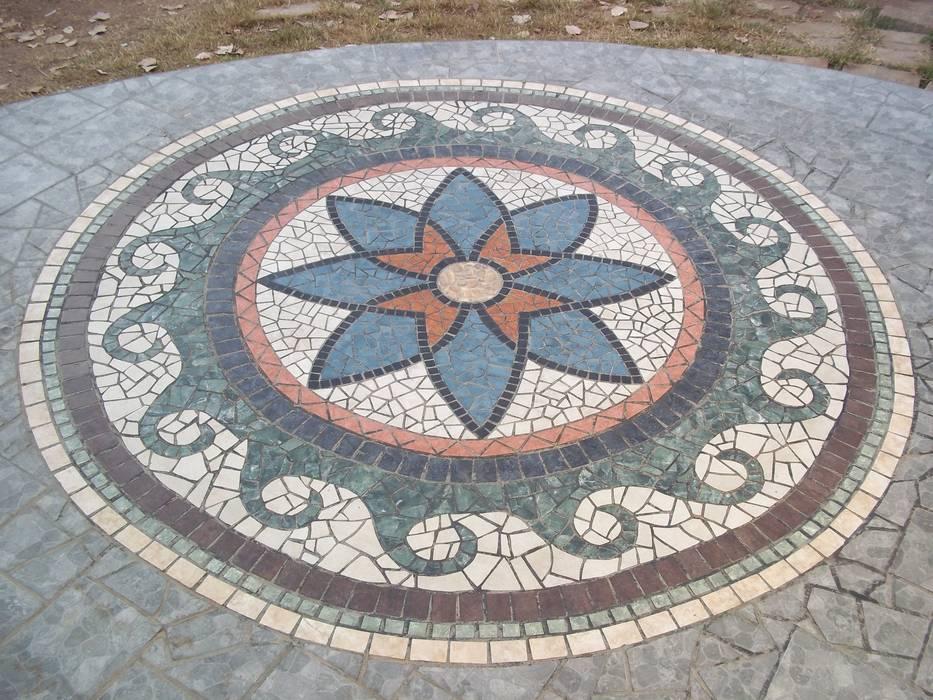 MANDALA PISO FLOR/OLAS: Paredes de estilo  por sueños en mosaico