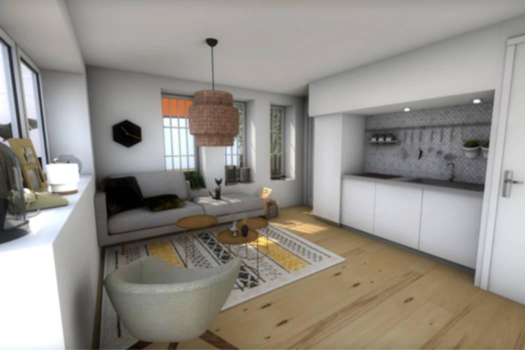 Vue du séjour de la première version: Salon de style de style Moderne par Dem Design