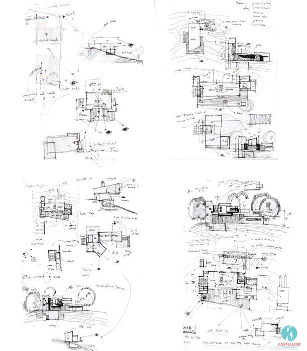 Croquis preliminares : Casas de estilo  por CASTELLINO ARQUITECTOS (+)