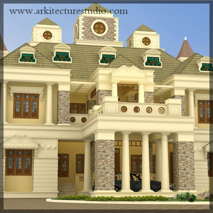 Colonial Style Luxury Indian Home Design: Houses By Arkitecture  Studio,Architects,Interior Designers