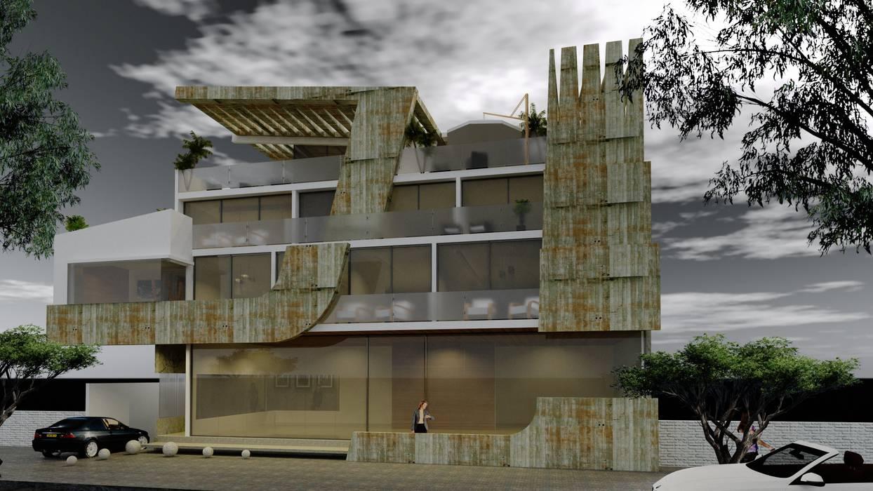 Visualización desde calle: Casas de estilo  por CASTELLINO ARQUITECTOS (+)
