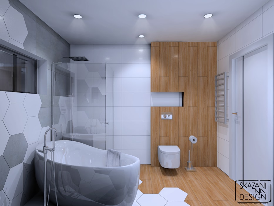 Bathroom by SKAZANI NA DESIGN Studio Architektury,