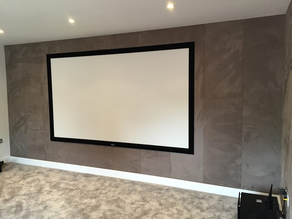 Cinema Room With Bespoke Suede Fabric Walls Media By Designer Vision And Sound