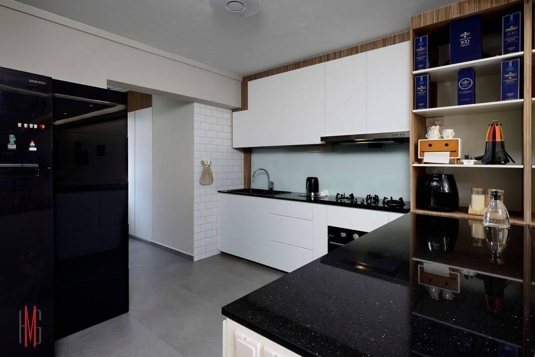 Nhà bếp phong cách hiện đại bởi HMG Design Studio Hiện đại Gỗ Wood effect