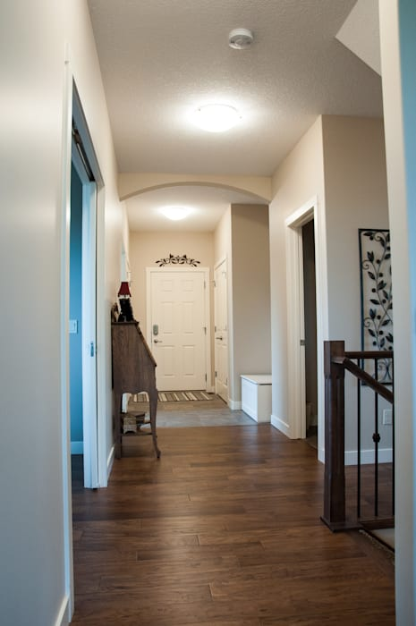 Main Floor Corridor Country style corridor, hallway& stairs by Drafting Your Design Country