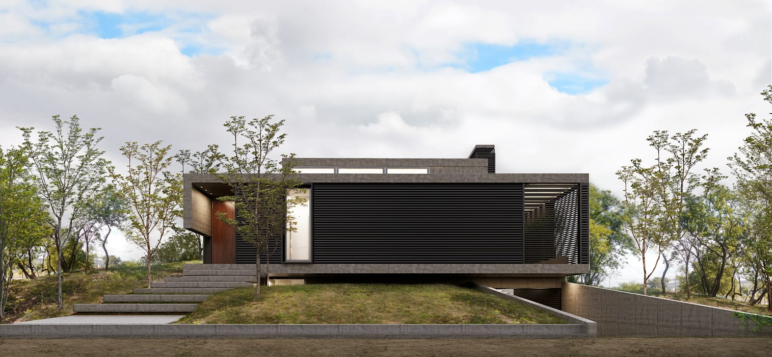 Fachada Hacia la Calle Casas minimalistas de 1.61 Arquitectos Minimalista