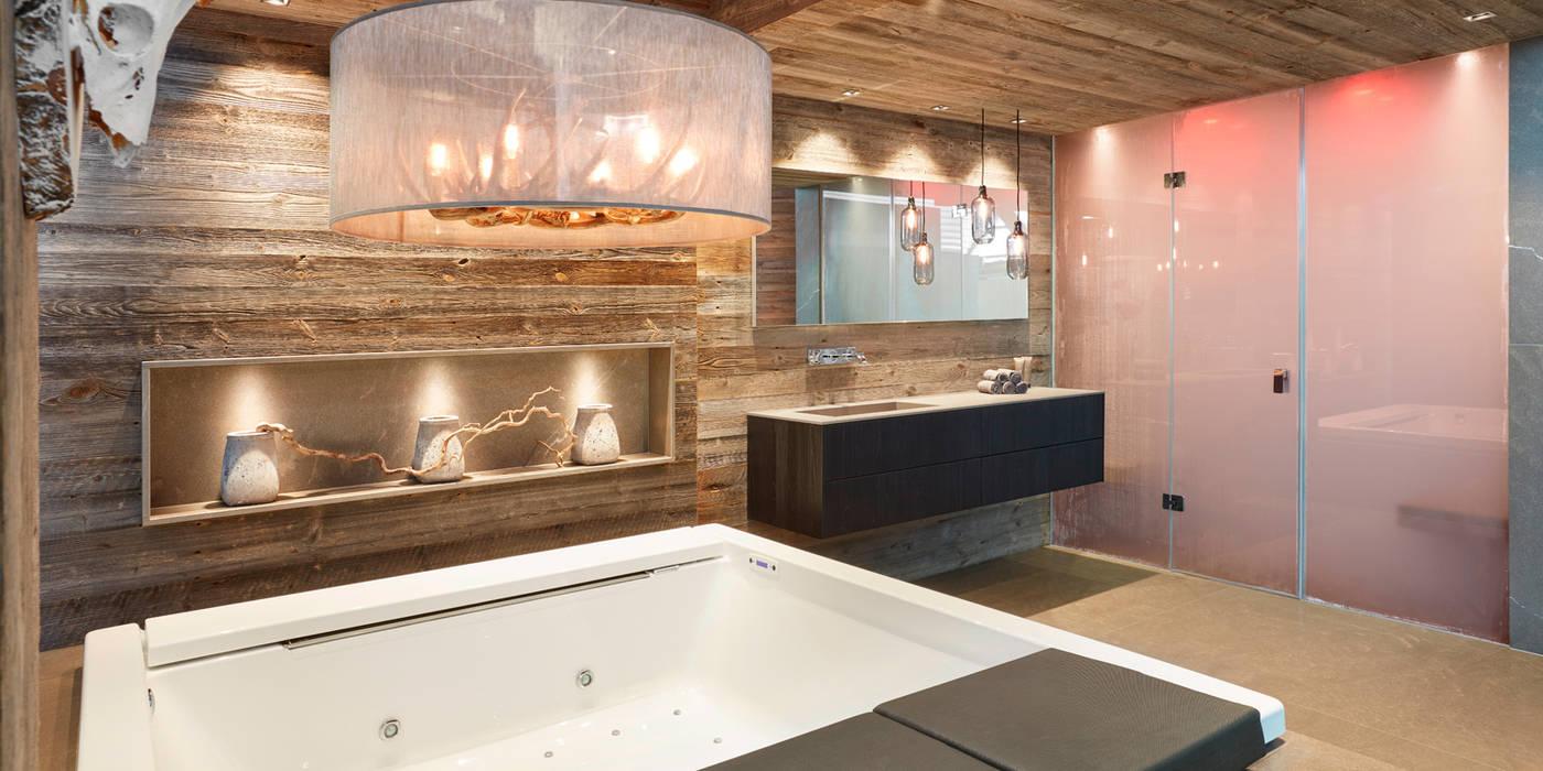 Exklusives chalet naturstein bad rustikale badezimmer von huber