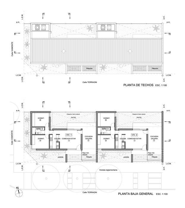 VIVIENDAS DE LADRILLO - Autor: Arq. Mauricio Morra: Casas de estilo  por Mauricio Morra Arquitectos