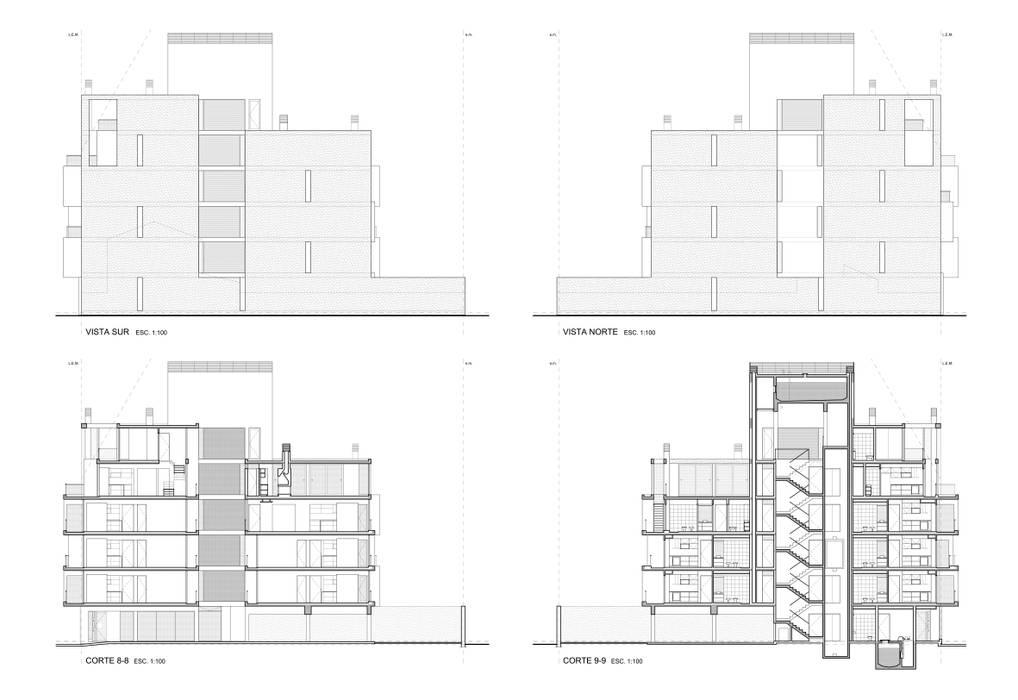EDIFICIO IRIGOYEN - Autores: Mauricio Morra Arq., Diego Figueroa Arq. y Arte de dos: Casas de estilo  por Mauricio Morra Arquitectos