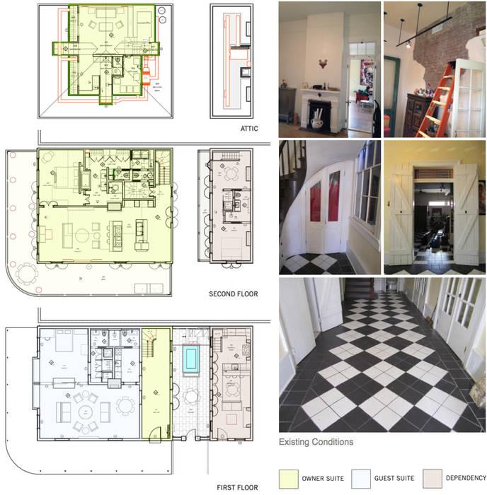 Marigny Residence, New Orleans:  Corridor & hallway by studioWTA