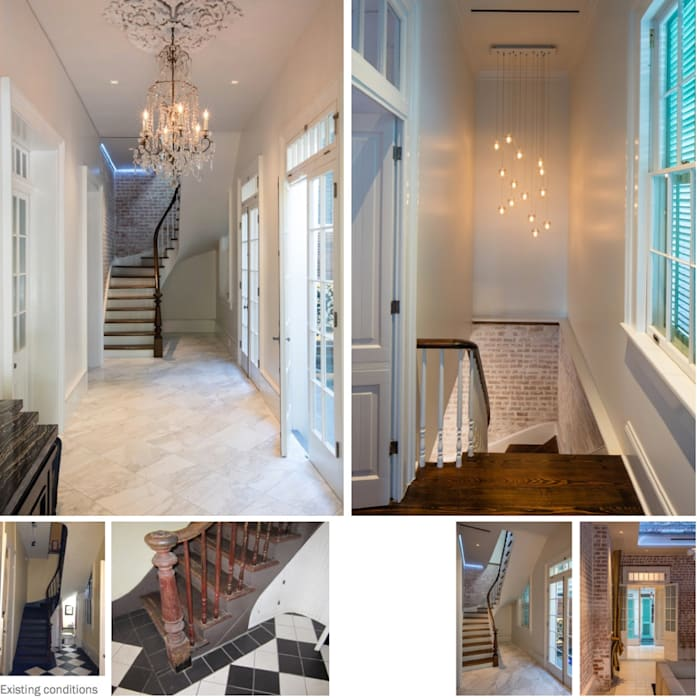 Marigny Residence, New Orleans Eclectic style corridor, hallway & stairs by studioWTA Eclectic