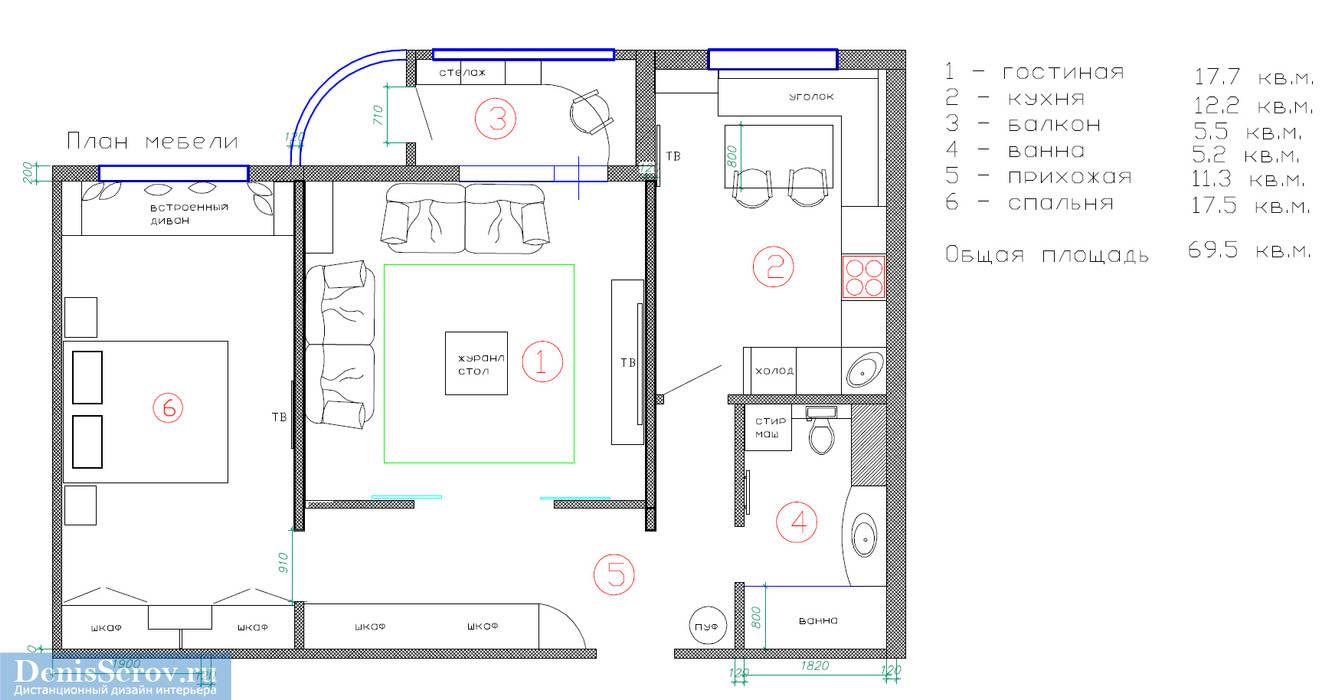План двухкомнатной квартиры 70 кв. м Стены и пол в стиле кантри от Студия интерьера Дениса Серова Кантри