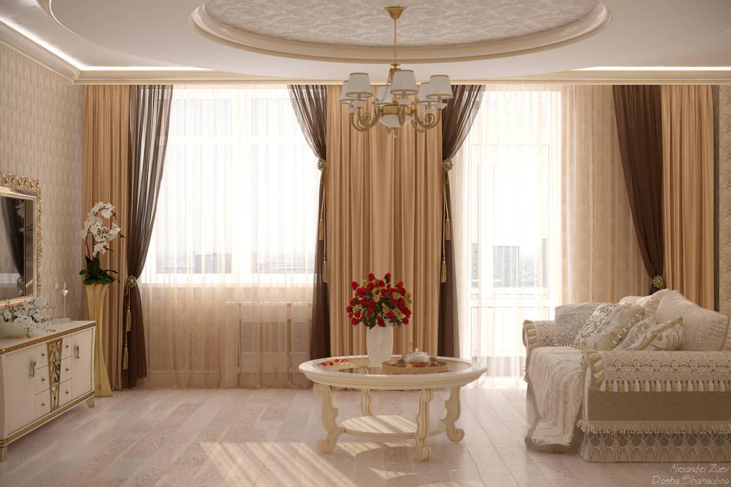 дизайн кухни гостиной в классическом стиле в квартире в жк