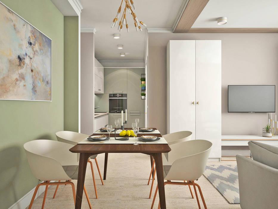 Кухня-гостиная ЖК Новое Измайлово Столовая комната в стиле минимализм от Ирина Рожкова - частный дизайнер интерьера Минимализм