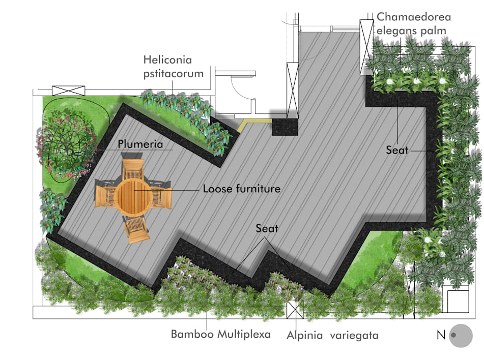 Floor plan for Second floor terrace by Land Design landscape architects