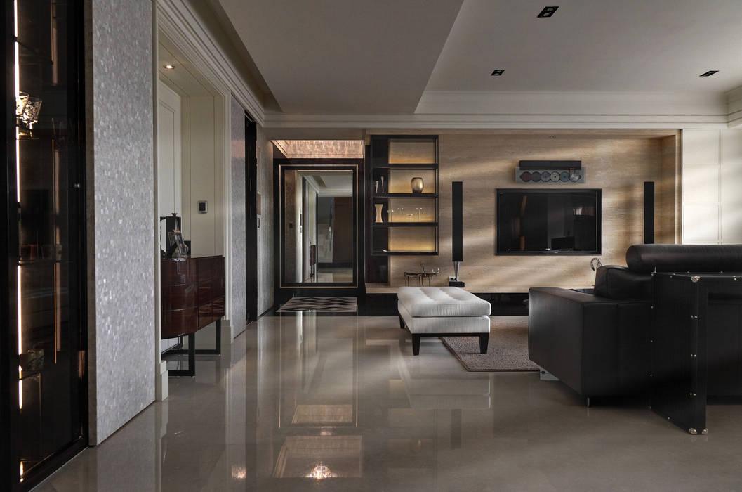 時尚精品宅 现代客厅設計點子、靈感 & 圖片 根據 大荷室內裝修設計工程有限公司 現代風